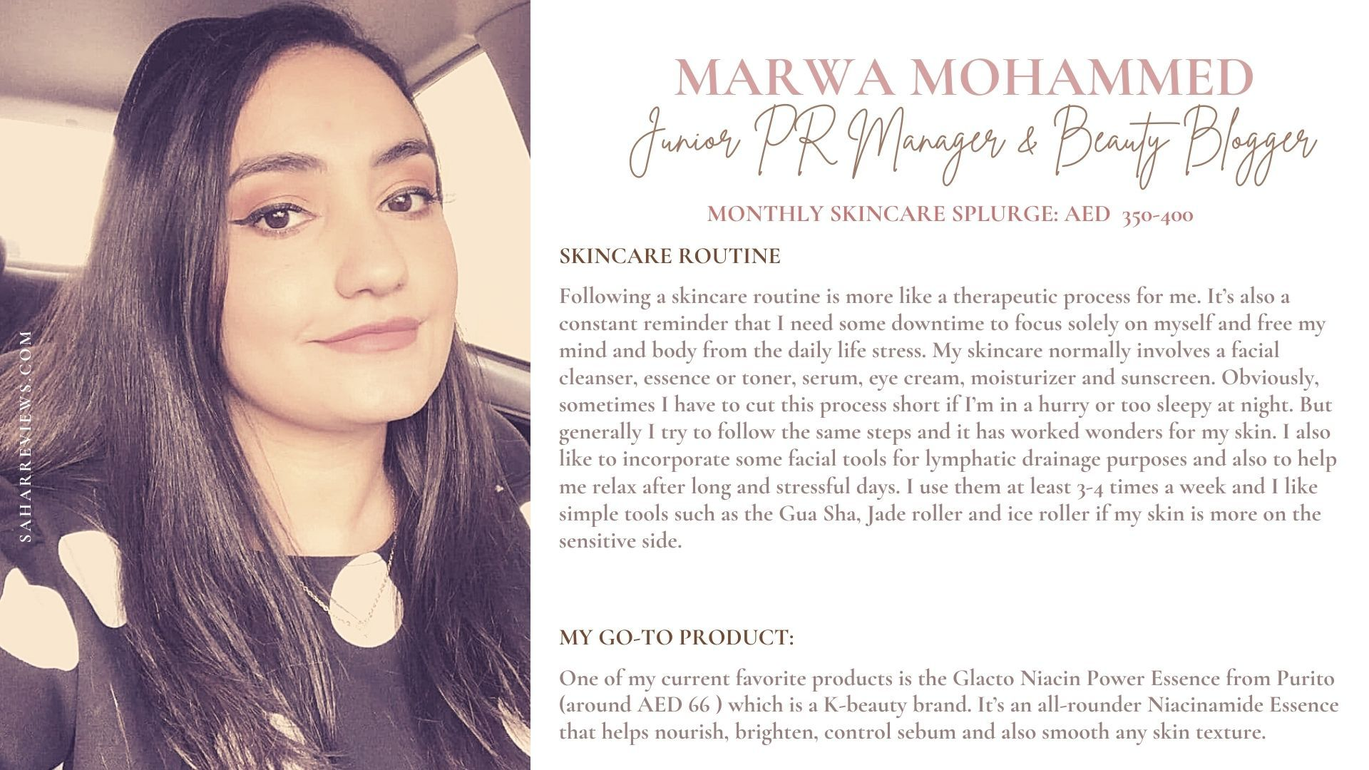 Marwa Mohammed, PR Manager, @thebeautybunny1, spending on skincare